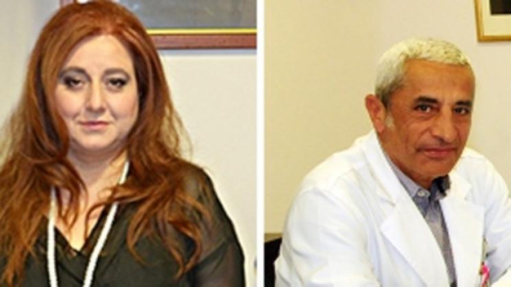 Η αναπληρώτρια διοικήτρια κα Ανθή Χαλιβέρα και ο καθηγητής Παθολογίας-Αιματολογίας και διευθυντής της Αιματολογικής Κλινικής κ. Γιώργος Βασιλόπουλος
